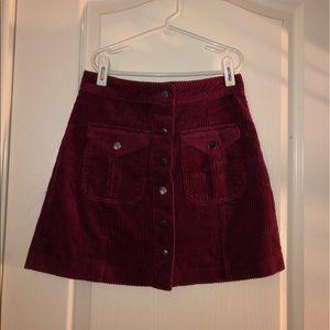 Forever 21 Maroon Corduroy Skirt
